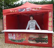 Mobile Catering Trailer Printed Burger Van Hot Dog Gazebo HEAVY DUTY RED
