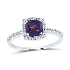 10kt White Gold Womens Cushion Lab-Created Amethyst Solitaire Ring 1 Cttw