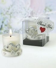 12 Silver Interlocking Hearts Glass Candle Holder Wedding Shower Party Favors