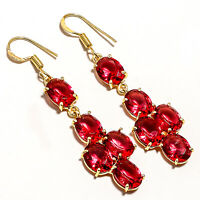 """925 Sterling Silver Red Garnet Gold Plated Gemstone Jewelry Earring 2.34"""""""