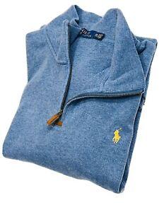 Ralph Lauren Men's Estate-Rib Quarter-Zip Pullover (Pale Blue)  RRP £125