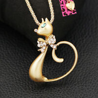 Betsey Johnson Enamel Crystal Bowknot Cat Kitten Pendant Sweater Chain Necklace
