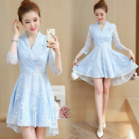 Women's V-neck Lace Pullover Mid Sleeve Dress Slim Skirt Korean Fashion Dresses