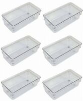 "(6) Interdesign / Linus 52330 3"" x 6"" x 2"" Clear Drawer Storage Organizer Bins"