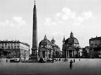PIAZZA DEL POPOLO ROME ITALY 1895 VINTAGE OLD BW PHOTO PRINT POSTER ART 705BWLV