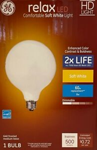 GE 60-Watt relax HD G40 Frosted White LED Globe Light Bulb w/Medium Base  5-inch