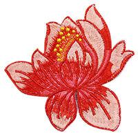 1pcs DIY Embroidered Cloth Iron On Patch Sew Motif Applique Lotus 8.5*8.5cm JX