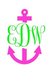 """Monogrammed Anchor Car Sticker 4.5"""" x 7.5"""" Window Decal in Hot Pink / Lime Green"""