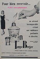 PUBLICITE LAMPE BERGER BRULE PARFUM AEROSOL FUMEE DE TABAC DE 1959 FRENCH AD PUB