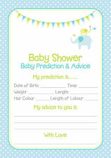 Baby Shower Prediction Cards Game Blue/Boy 20 Players