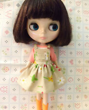 Blythe Doll Outfit Clothing Flower Print Beige Dress