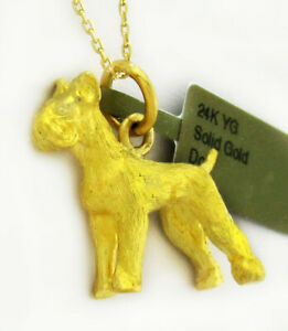 24K YELLOW SOLID GOLD DOG PENDANT ** FREE Shipping * NEW WITH TAG * 14.6 grams