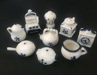 Vintage Blue & White Bone China Kitchenware Miniatures