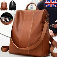 Women's Leather Backpack Anti-Theft Rucksack School Shoulder Bag Black/Brown UK