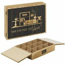 Wooden 12 Compartment Tea Bag Box With Doors Kitchen Storage Organiser Container