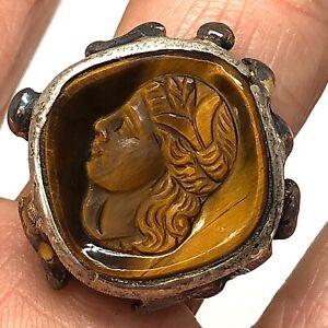 Tigers Eye Intaglio Ring Sz 8.5 Vtg Sterling Silver 13g Carved Signet Men Trojan