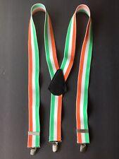 Irish Flag Colors Suspenders Braces Green White Orange Elastic