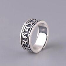 Solid Sterling Silver Mens Tibetan Mantra Band Ring Size Adjustable