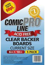 (5-Pack) Comic Pro Line 60pt Clear Comic Backer Boards - Current / Modern Size