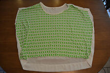 Women's GAP Green and White Blouse Top Size Extra Large (XL)