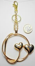 Large gold double hearts bag charm 16cm total length