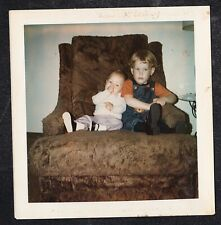 Vintage Photograph Little Boy Sitting With Baby on Chair in Living Room