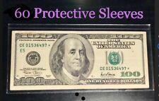 60 SEMI-RIGID Vinyl Money Protector Sleeves US Dollar Bill CURRENCY HOLDERS BCW