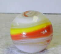 #11701m Large .73 Inches Vintage Akro Agate Red and Yellow Popeye Marble