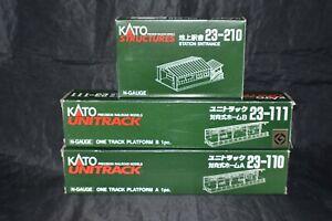 KATO N-Scale 23-110 & 23-111 One Track Platform A & B w/ 23-210 Station Entrance