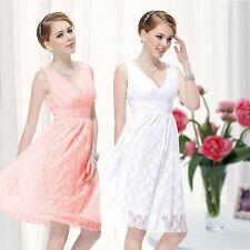 Lace V-Neck Sleeveless Dresses Midi