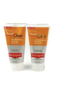 Lot of 2 Neutrogena Rapid Clear Oil Eliminating Foaming Cleanser 6oz Acne Prone