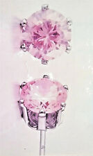 EARRINGS-STUD,LITE PINK,CUBIC ZIRCONIA,2 CARATS DAZZLE, NWT,BONUS & FREE SHIP!
