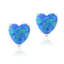 925er Silber Künstlicher Blauer Opal Herz Ohrstecker, 7mm
