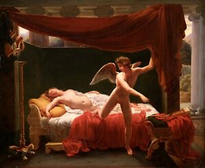 c. 1840 LARGE FRENCH NEOCLASSICAL OIL ON CANVAS - CUPID & PSYCHE - PICOT