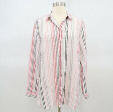 J. Jill Blouse Shirt Top Womens 100% Linen Striped White Pink Red Gray M Medium