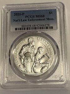 2021-P UNC $1 National Law Enforcement Museum Silver Dollar PCGS MS68