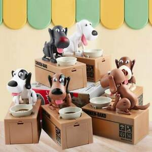 Pet Dog Stealing Eating Coin Money Penny Cents Puppy Storage Bank Saving Box