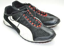 Womens PUMA Athletic Comfort Shoes Size 8.5 Black Leather White Stripes