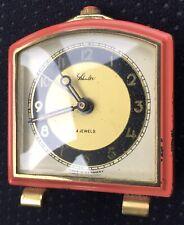 SHULER VINTAGE TRAVEL CLOCK Enamel Brass
