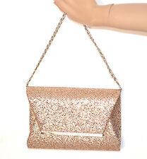 POCHETTE ORO borsello donna brillantini borsa elegante cerimonia clutch bag A8