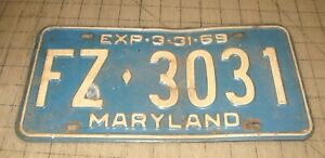 "1969 Single MARYLAND Metal LICENSE PLATE ""FZ 3931"" Blue with White Lettering"