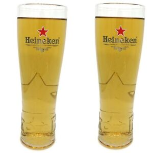 Heineken Pint Glass With Embossed Features & Nucleated Base