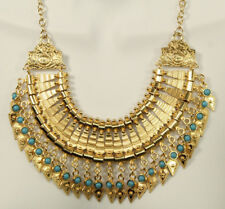 Bold Spike Gold Statement Necklace Turquoise Gypsy Boho Chic Tribal Bib Choker