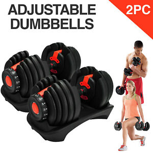 Adjustable Dumbbell Pair Weight Select 552 1090 Fitness Workout Gym Dumbbells