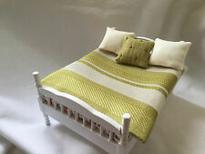 Dolls House DOUBLE Bedspread Cover Set Striped Green &  Pillows 12th Scale new