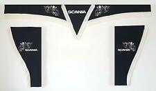 Set 3 BLACK Curtains Whit White String for SCANIA Truck ALL MODELS Plush Fabric