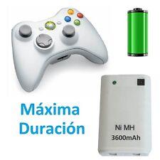 bateria de calidad para mando xbox 360 blanco 3200mA xbox360 con cable carga USB