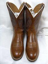 Ariat Mens Cowboy Boots Size 10.5 D Dark Tan / Light Brown Leather EUC   #13  NB