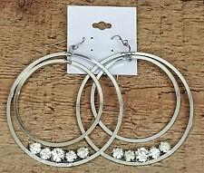 "Big Hoop Earrings Silver Tone Rhinestone Fashion Jewelry Fish Hook 2-1/4"""