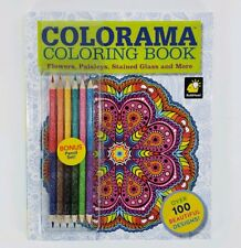 Colorama Coloring Book Flowers Paisleys Stained Glass with Pencil Set Brand New